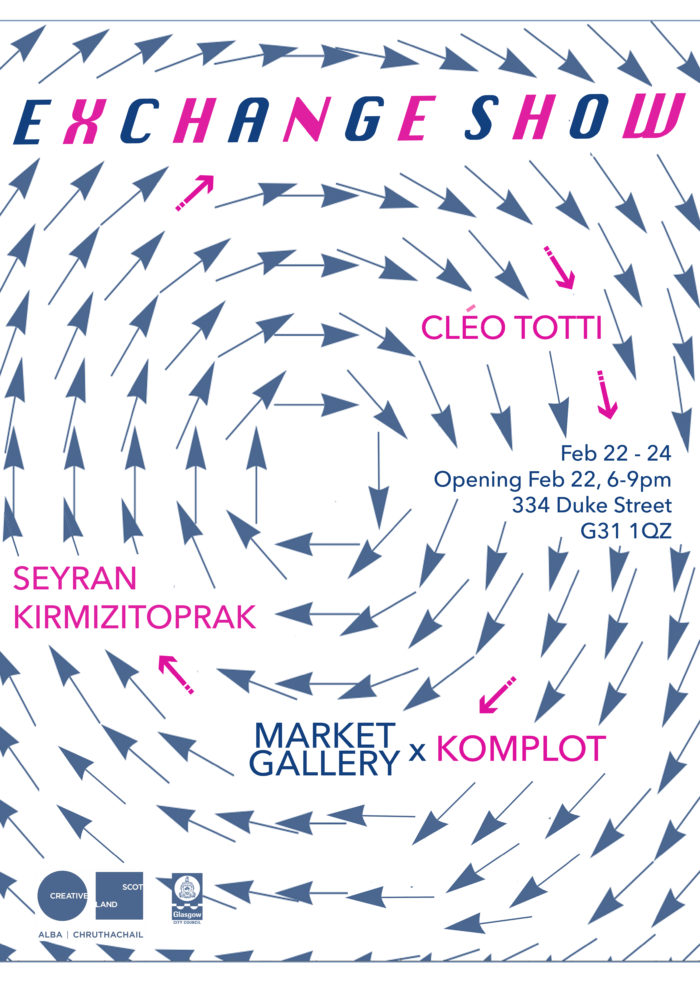 Poster composed of a vortex of dark blue arrows (resembling a meteorological display) with pink and blue text giving details of the exhibition. Title says 'Exchange Show'.