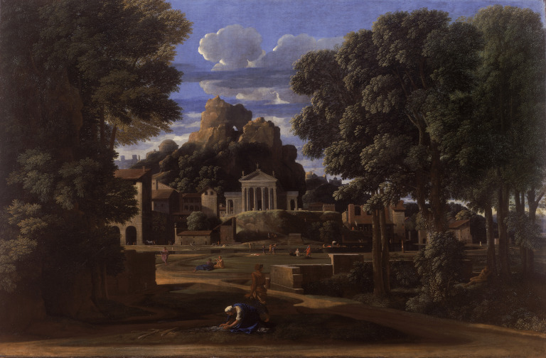 An old painting of an ancient city emerging in the distance, possibly Jerusalem. Painting reminiscent of Breughel style. Luscious trees in the foreground.